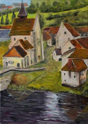 Village de France toile figurative