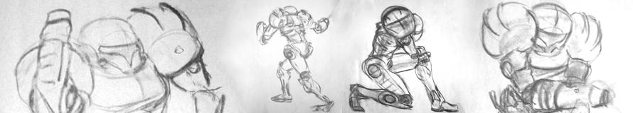 Sketches of Samus Aran