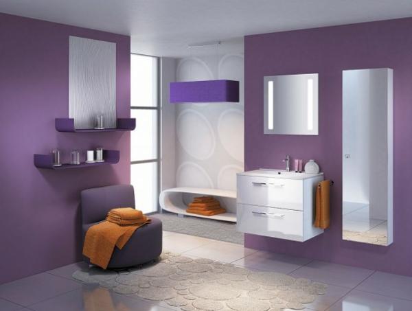 Lila Badezimmer Interior Sieht Elegant Und Stilvoll Aus