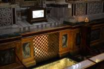 "Saint Paul's tomb is below a marble tombstone in the Basilica's crypt below the altar. The tombstone bears the Latin inscription Paulo Apostolo Mart ""to Paul the apostle and martyr""."