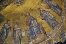 The apse mosaic was made by Venetian artists ~ Christ is flanked by the Apostles Peter, Paul, Andrew and Luke.