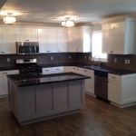Finished Kitchen Cabinet Paint Job White With A Gray Island Allen Brothers Cabinet Painting