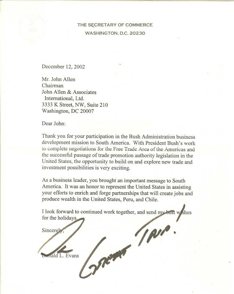 Letter to JA from Donald Evans former Sec of Comm, 2002