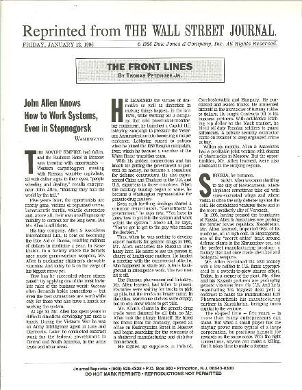WSJ article on JA working in Russia