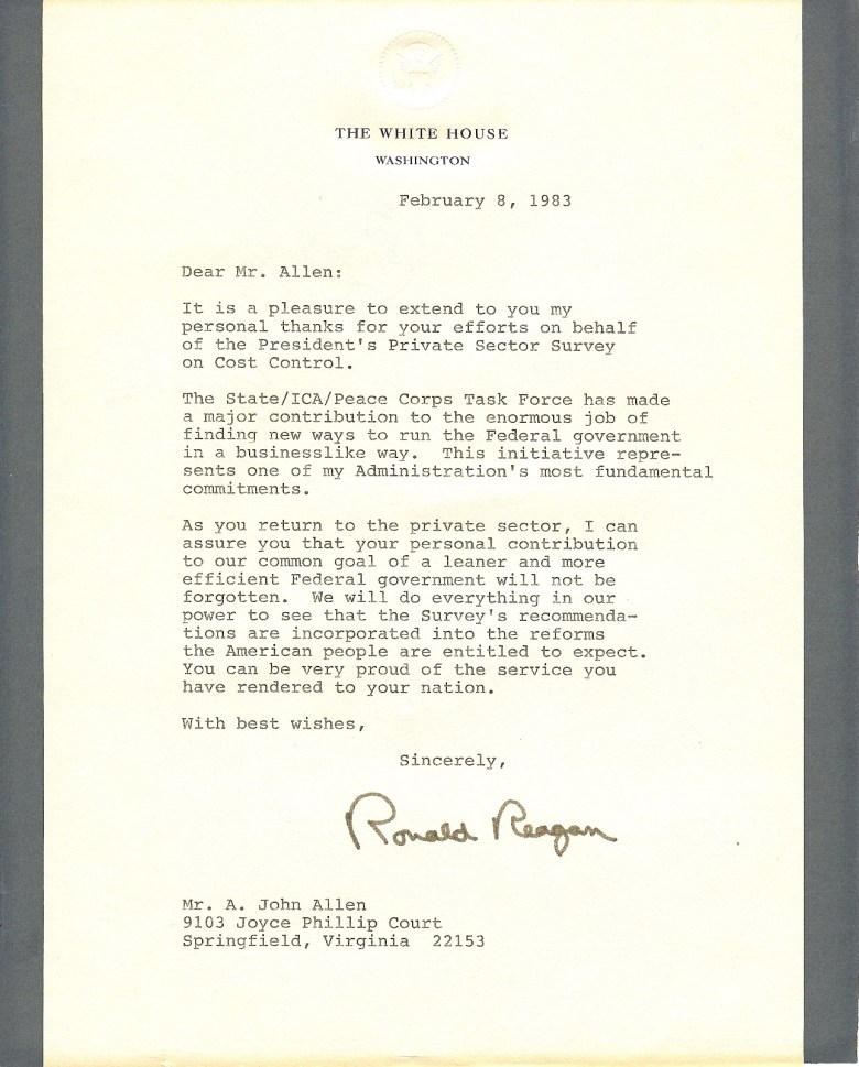 Letter to JA from Ronald Reagan 1983
