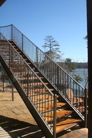 Steel Stairs Birmingham Al Allen Iron Works | Metal Stairs With Wood Treads | Straight Steel | Single Steel Stringer | I Beam | Metal Railing | Timber