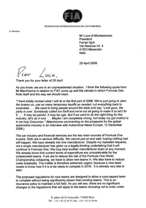 Mosley's letter to Ferrari