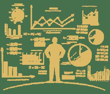 marketing metrics - illustration of business man looking at analytics dashboard