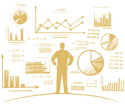 marketing metrics - illustration of business man looking at analytics dashboard