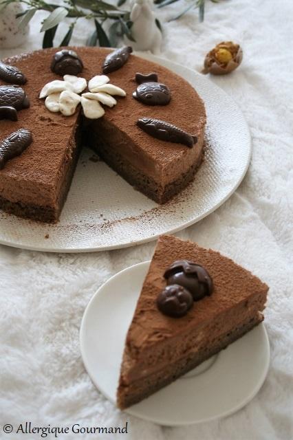 entremet chocolaté pour pâques sans gluten sans lait sans oeufs