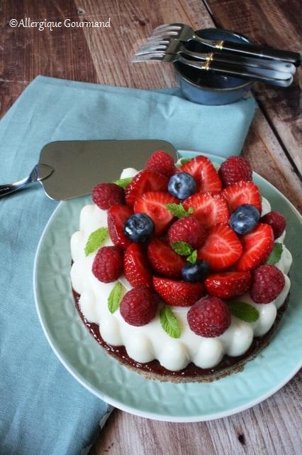 Entremet panna cotta coco- chocolat blanc aux fruits rouges { sans gluten sans lait sans œufs}