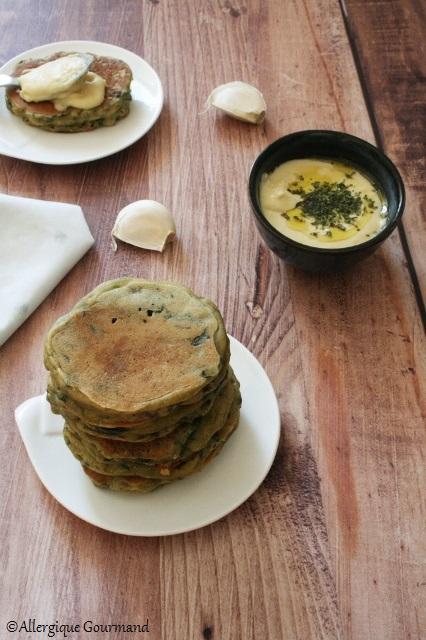 pancakes aux épinards sans gluten sans lait sans œufs