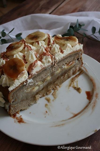 gâteau façon banoffee sans gluten sans lait sans oeufs