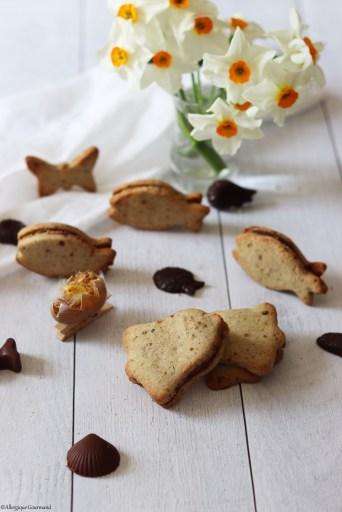 biscuits au pralin fourrés au chocolat sans gluten sans lait sans œufs