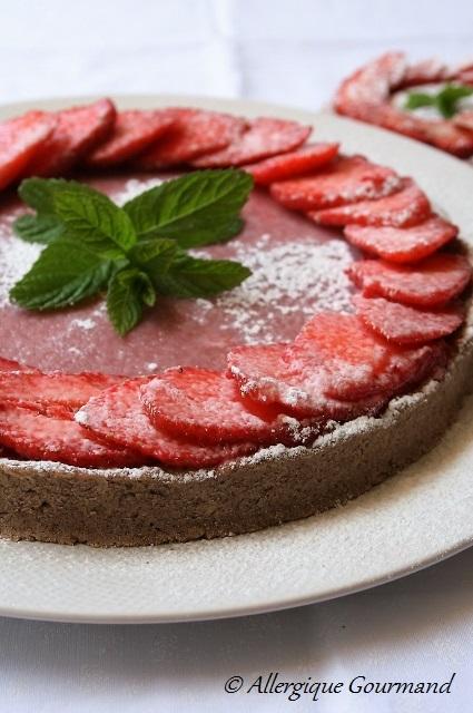 tarte aux fraises et curd de fraises sans gluten sans lait sans oeufs