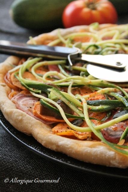 Pizza patates douces, betteraves, courgettes