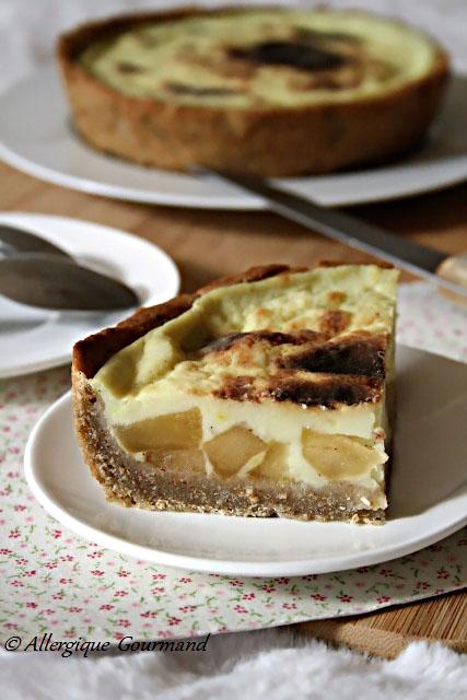 Flan pâtissier aux pommes caramélisées sans gluten sans lait sans oeufs