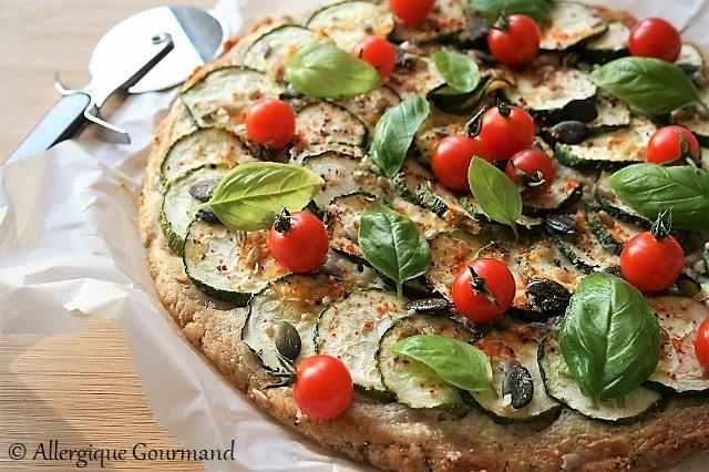Pizza courgettes sans gluten sans œufs
