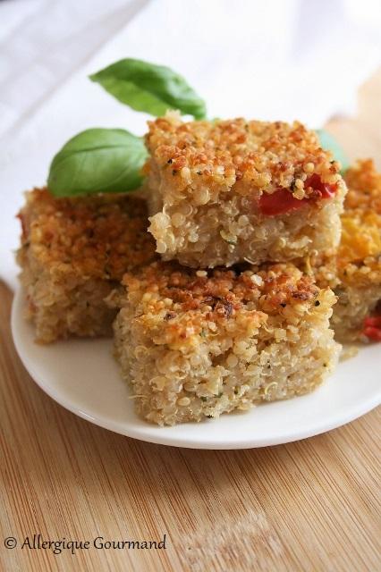 carrés quinoa courgettes et poivrons sans gluten sans lait sans œufs