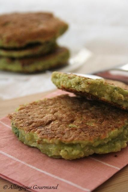 galettes pois cassés quinoa brocoli sans gluten sans lait sans oeufs