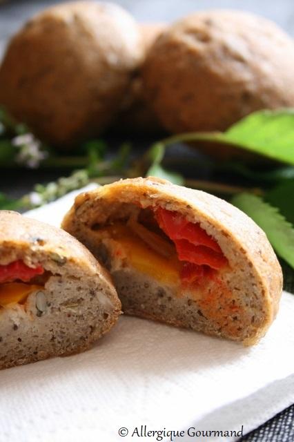 pains aux graines poivrons mozzarella sans gluten sans lait sans oeufs