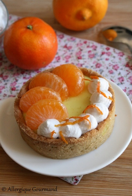 tartelettes crème bergamote clémentines sans glutens sans lait sans oeufs