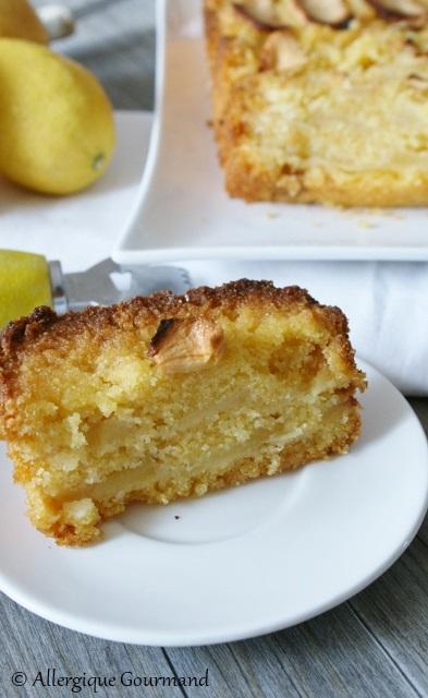 cake polent pommes citron sans gluten sans lait sans oeufs