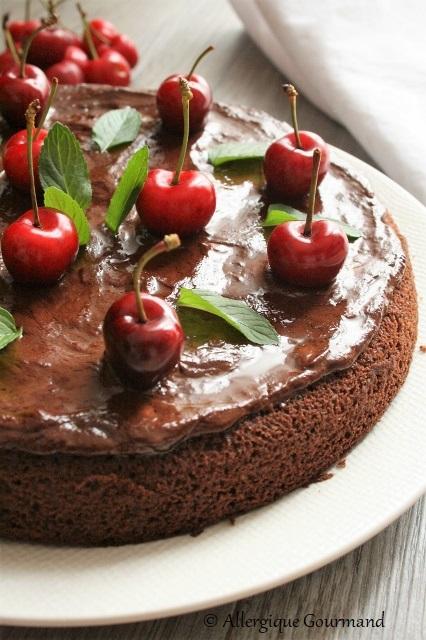 gâteau chocolat cerises sans gluten sans lait sans oeufs