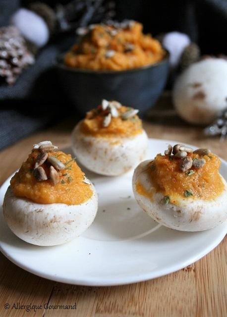 Champignons garnis à la tartinade de courge sans gluten sans lait sans oeufs