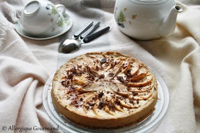 tarte aux pommes et à la crème de pomme sans gluten sans lait sans oeufs