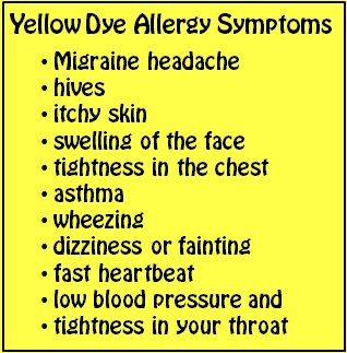 yellow dye allergy symptoms