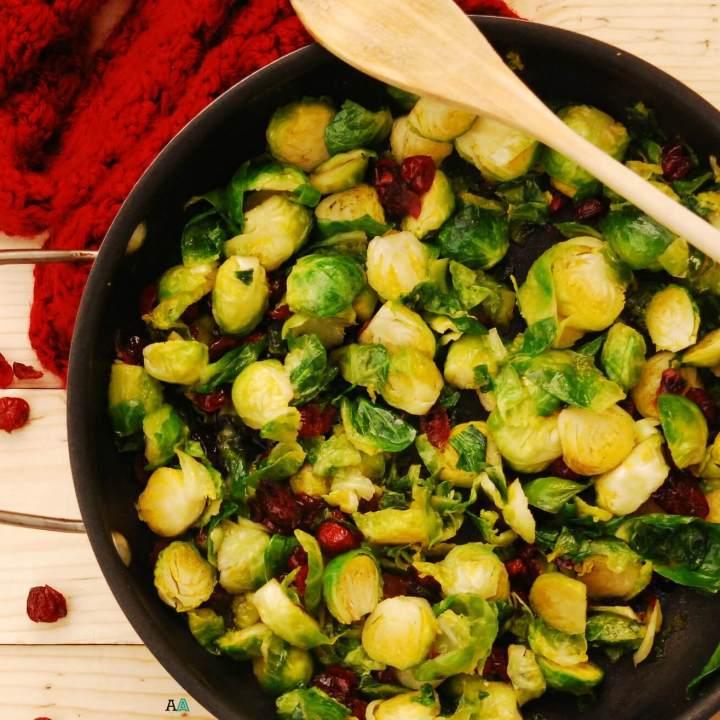 Gluten Free Vegan Brown Sugar Brussels Sprouts with Craisins