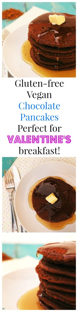 Gluten-free Vegan Chocolate Pancakes. Breakfast recipe by AllergyAwesomeness.com