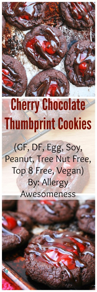 Gluten-free & Vegan Cherry Chocolate Thumbprint Cookies. Dessert recipe by AllergyAwesomeness.com