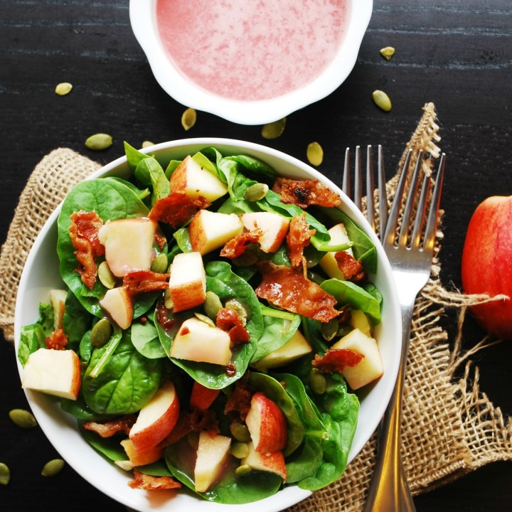 Apple, Bacon & Spinach Salad with Sweet Red Onion Vinaigrette (GF, DF, Egg, Soy, Peanut & Tree Nut Free, Top 8 Free)