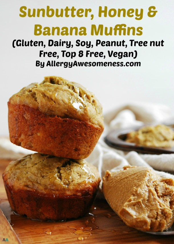 Gluten-free & Vegan SunButter Honey & Banana Muffins Recipe by AllergyAwesomeness.com