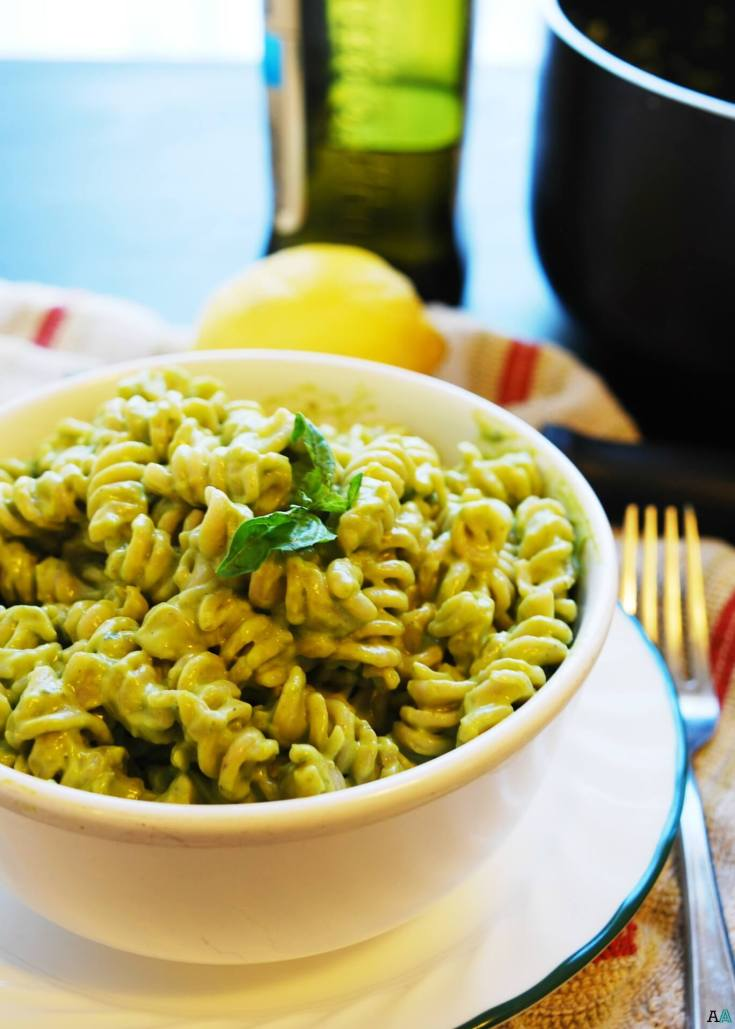 Basil, Lemon & Avocado Creamy Pasta (Gluten, Dairy, Egg, Soy, Peanut, Tree nut Free; Top 8 Free, Vegan)