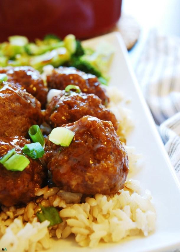 Quinoa Teriyaki Skillet Meatballs (Gluten, dairy, egg, peanut and tree nut free) Dinner recipe by AllergyAwesomeness.com