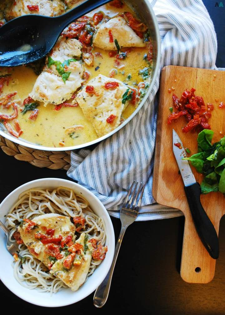 30 Minute Dairy-free Creamy Tuscan Chicken (Gluten, dairy, egg, soy, peanut & tree nut free; top-8-free) Dinner recipe by AllergyAwesomeness