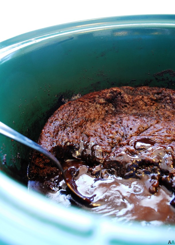 Slow Cooker Chocolate Lava Cake (Gluten, dairy, egg, soy, peanut and tree nut free; top 8 free; vegan) Dessert recipe by AllergyAwesomeness.com
