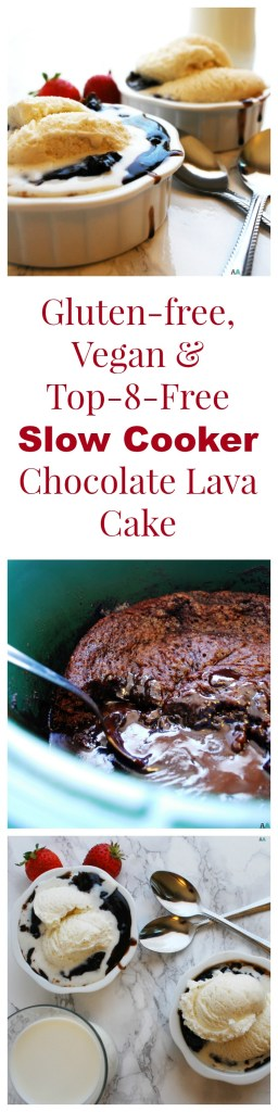 Gluten-free, Vegan & Top-8-free Slow Cooker Chocolate Lava Cake Dessert Recipe by AllergyAwesomeness.com