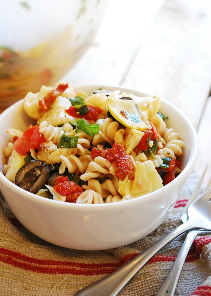 Roasted Caulilflower Pasta Salad (Gluten, dairy, egg, soy, peanut & tree nut free; top 8 free; vegan) Recipe by AllergyAwesomeness.com
