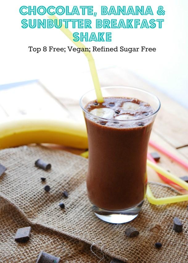 Chocolate SunButter Banana Breakfast Shake Recipe by AllergyAwesomeness.com