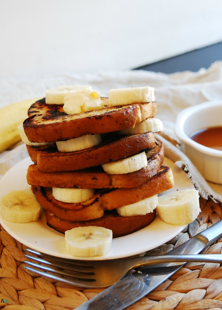 Vegan Banana French Toast (Gluten, dairy, egg, soy, peanut & tree nut free; top 8 free) Breakfast recipe by AllergyAwesomeness.com