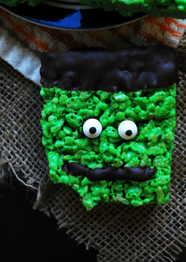 Easy frankenstein rice krispies