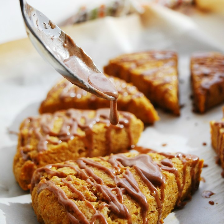 Pumpkin Scones with Spiced Glaze (Gluten, dairy, egg, soy, peanut and tree nut free; top 8 free; vegan)