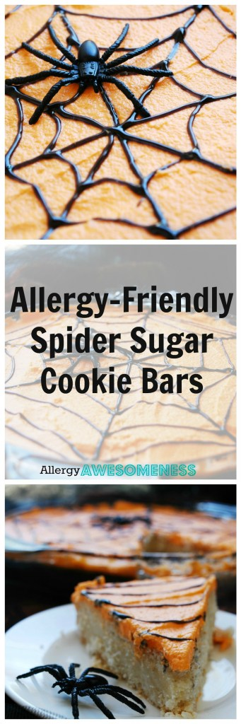 Allergy Friendly Spider Sugar Cookies Bars (Gluten, dairy, egg, soy, peanut & tree nut free; top 8 free; vegan) Halloween treat by AllergyAwesomeness.com