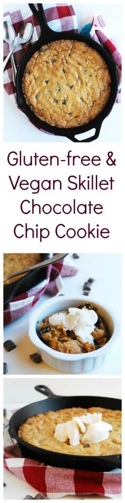Gluten-free & Vegan Skillet Chocolate Chip Cookie (Gluten, dairy, egg, peanut & tree nut free) Dessert recipe by AllergyAwesomeness.com