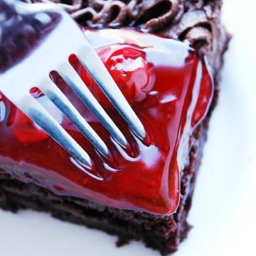 Gluten-free Vegan Cherry Chocolate Cake. Dessert recipe by AllergyAwesomeness.com