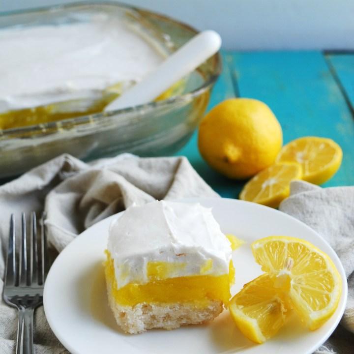 Gluten-free Vegan Lemon Cream Pie Bars (Gluten, dairy, egg, soy, peanut & tree nut free; top-8-free)